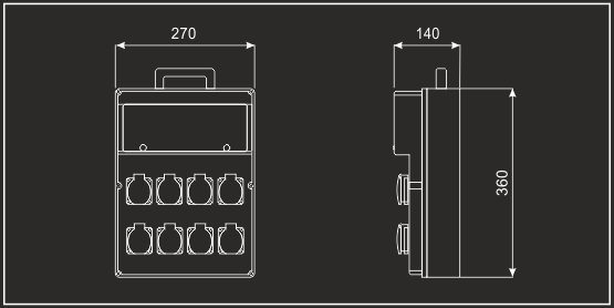 Quadro elettrico portatile trifase 63A uscita 2x32A