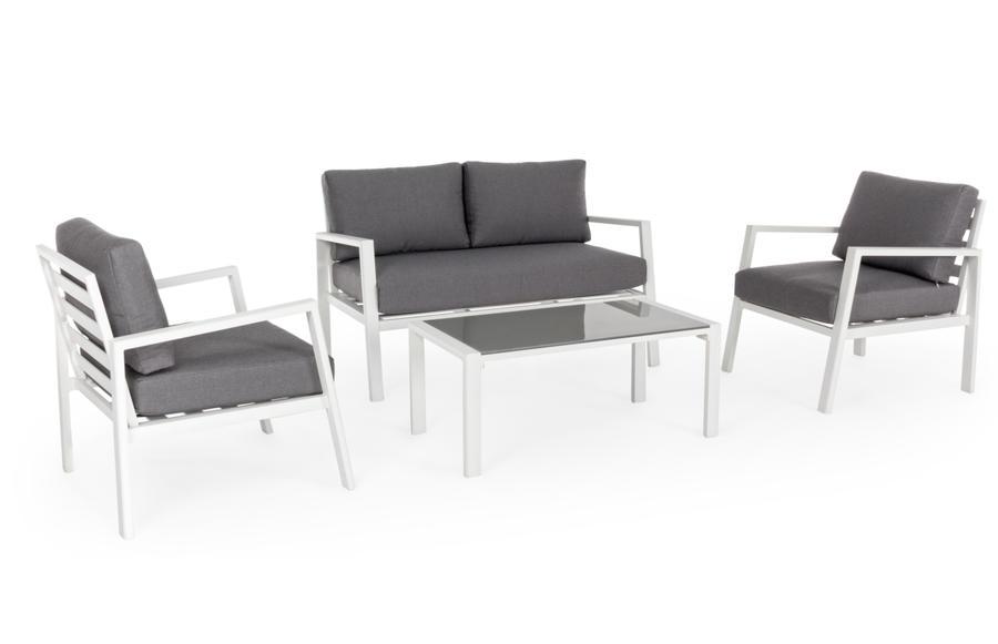 Salotto da giardino KORALLO in alluminio bianco con cuscini divano e 2 poltrone