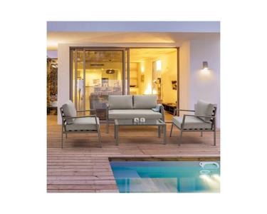Salotto da giardino KORALLO in alluminio TORTORA con cuscini divano e 2 poltrone