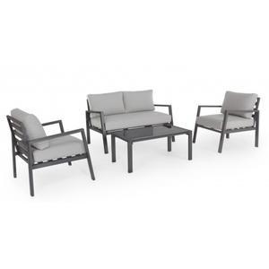 Salotto da giardino KORALLO in alluminio ANTRACITE con cuscini divano e 2 poltrone