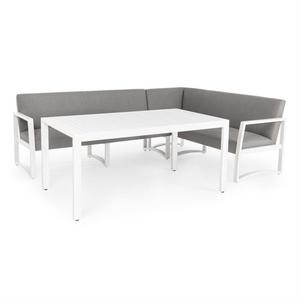 Salotto da giardino angolare con tavolo da pranzo KRISTALLE in alluminio bianco