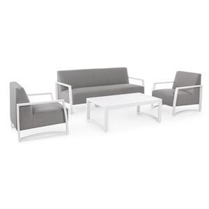Salotto comodissimo da giardino NIVELLOS divano 3 posti 2 poltrone in alluminio bianco