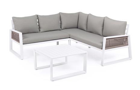 Salotto da giardino angolare CATTIVAS in alluminio bianco e tavolino moderno