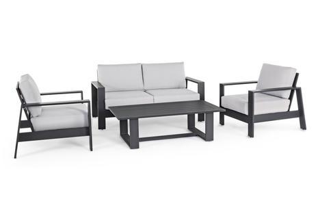 Salotto da giardino in alluminio antracite ATLANTICO con divano comodo e 2 poltrone e tavolino stilizzato