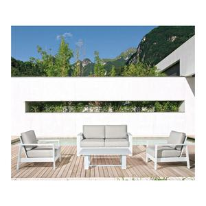 Salotto da giardino in alluminio ATLANTICO con divano comodo e 2 poltrone e tavolino stilizzato BIANCO
