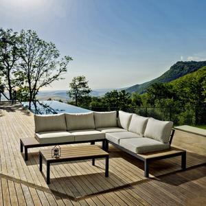 Salotto da giardino angolare ELIANA in alluminio e polywood teak 160 cm x 160 cm