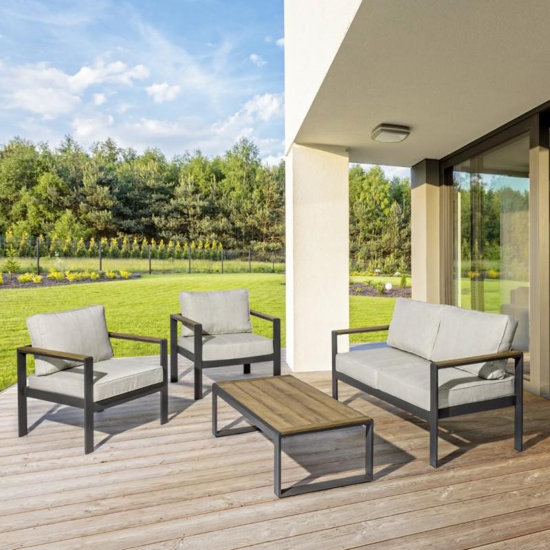Salotto da giardino comodo ELISETTA divano 2 poltrone tavolino in polywood teak