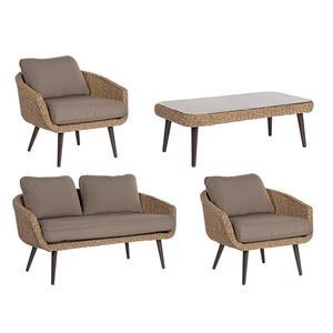 Salotto da giardino in rattan sintetico CORTINA con 2 poltrone e divano e tavolino