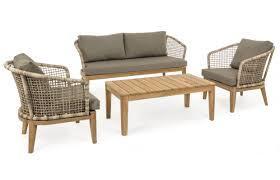 Salotto da giardino BARCELLONA in alluminio e fibra intrecciata e gambe in teak
