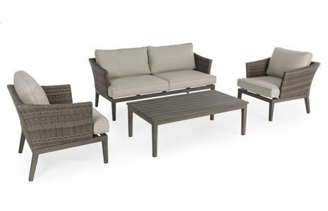 Salotto da giardino in alluminio finto legno NOVARA schienale Intreccio in fibra sintetica 2 poltrone 1 divano e tavolino