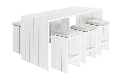 Set tavolo in alluminio BAR APEROL aperitivo con 6 sgabelli con cuscino bianco
