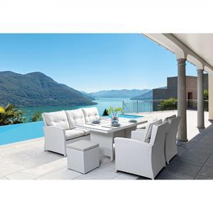 Salotto da giardino 7 posti ATLANTIDE con tavolo pranzo 155 x 85 divano 3 posti 2 poltrone e 2 pouf BIANCO
