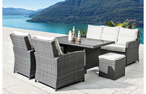 Salotto da giardino 7 posti ATLANTIDE con tavolo pranzo 155 x 85 divano 3 posti 2 poltrone e 2 pouf GRIGIO MATT