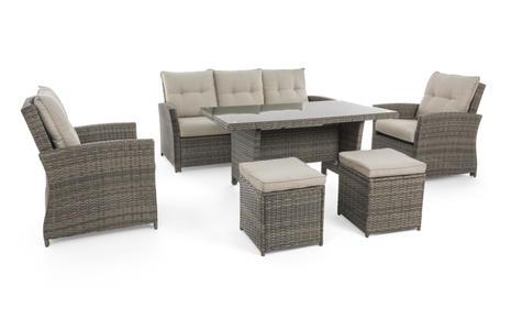 Salotto da giardino 7 posti ATLANTIDE con tavolo pranzo 155 x 85 divano 3 posti 2 poltrone e 2 pouf MARRONE TIGRATO