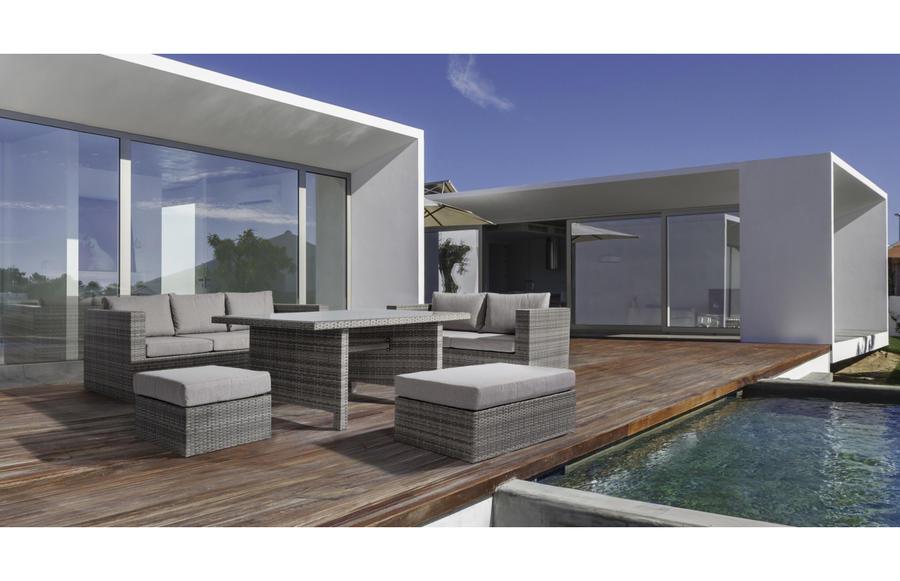 Set 5 Salotto CREMONA da giardino in alluminio e tavolo pranzo 160 X 100 divano 3 + 2 posti e 2 pouf