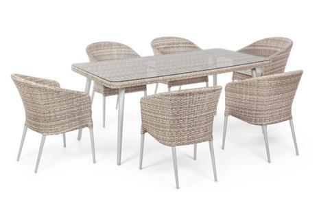 Set tavolo e 6 sedie pranzo ASOLO mis 180 X 90 in alluminio color Grigio Chiaro e  intreccio sintetico Twin Melange