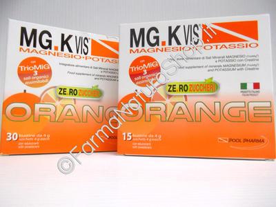 MG.K Vis Magnesio-Potassio con Creatina ORANGE SENZA ZUCCHERO ►PROMO BIPACK 30+15 BUSTE◄