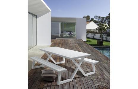 Set panca da giardino PARIGI con tavolo in alluminio 86 x 200 BIANCO