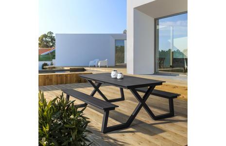 Set panca da giardino PARIGI con tavolo in alluminio 86 x 200 ANTRACITE