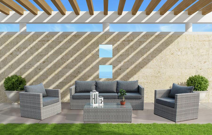 Salotto da giardino in alluminio ALBEROBELLO 3 POSTI con divano 3 posti 2 poltrone e tavolino in wicker grigio