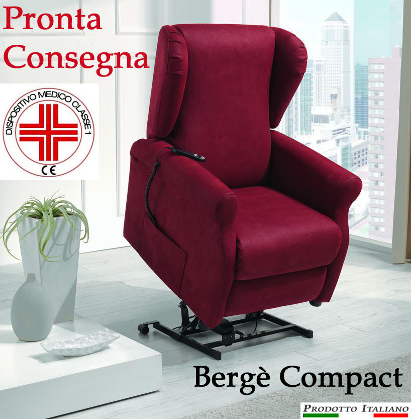 Poltrona Relax Bergè Compact completa di Alzapersona, Kit Roller 2 Motori e Alzata Verticale di 10 CM PRONTA CONSEGNA