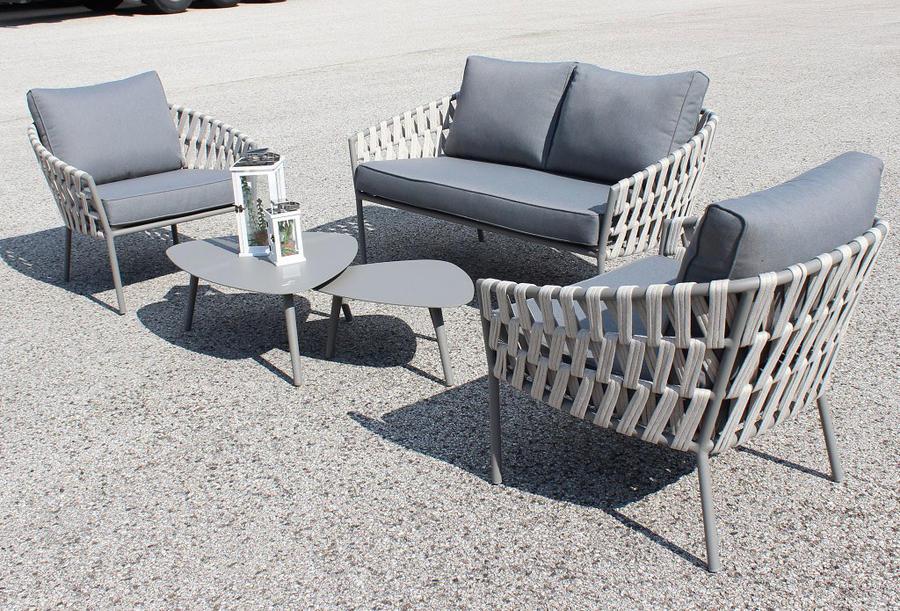 Salotto da giardino 2 posti PARIGI in alluminio e corda piatta 1 divano 2 poltrone con cuscini