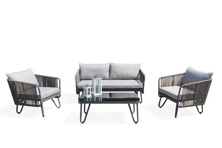 Salotto da giardino 3 posti VIENNA in alluminio antracite e corda piatta 1 divano 2 poltrone con cuscini