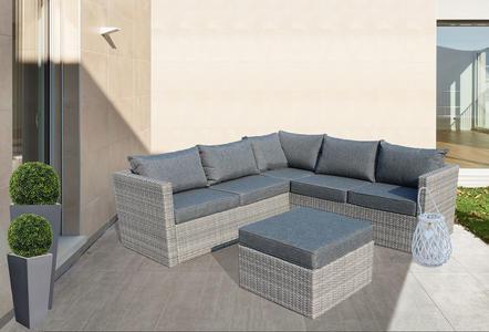 Salotto da giardino angolare ALMERIGO in alluminio e  wicker grigio con cuscini