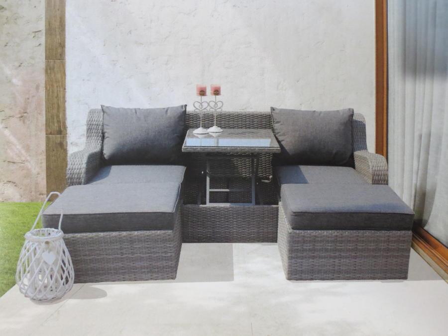 Salotto doppio divano con 2 pouf CAORLE in alluminio e wicker grigio e tavolino estraibile