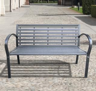 Panchina in acciaio e polywood antracite ETERNA misura 126 X 56 X 80 cm