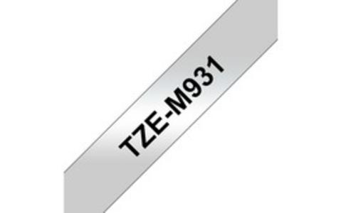 NASTRO METALLIZZATO OPACO TZE-M931 12MMx8MT NERO/ARGENTO OPACO