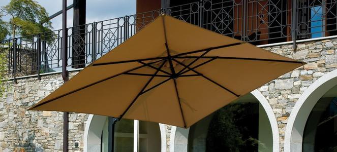 Ricambio telone Ombrellone da giardino ALICE rettangolare da esterno 2,4 x 3,3 m con Palo laterale Colore sabbia COP 5034