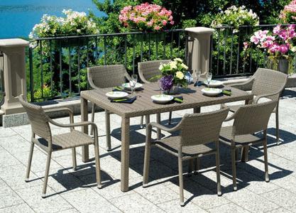 Tavolo da giardino BORDEAUX  150 X 90 + 6 SEDIE in alluminio rattan sintetico SOTTOCOSTO