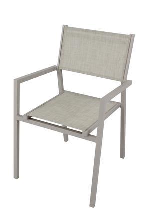 Sedia impilabile da giardino AVANAS in textilene grigio e alluminio TORTORA