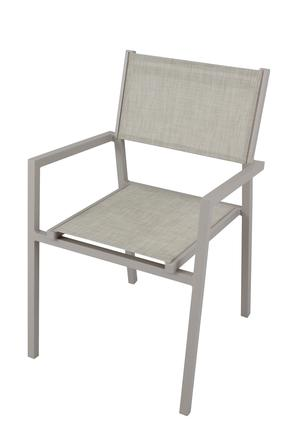 Sedia impilabile da giardino AVANAS BRACCIOLI in textilene grigio e alluminio TORTORA