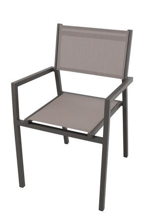 Sedia impilabile da giardino AVANAS BRACCIOLI in textilene grigio e alluminio TAUPE