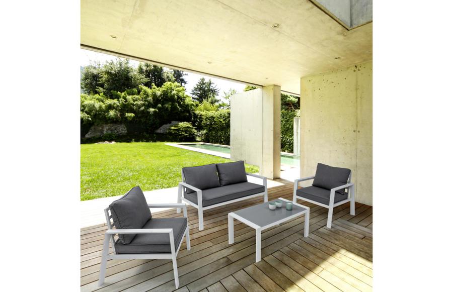 Salotto da giardino in alluminio TORINO divano 2 posti e poltrone colore bianco con cuscini morbidosi