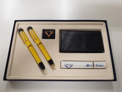 Parure penna a sfera e stilografica Visconti Monte Carlo in bakelite gialla