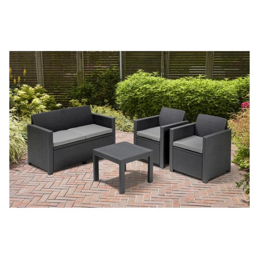 Salotto da giardino ALABAM 1 divano 2 poltrone e divanetto in politiene Grafite Vimini