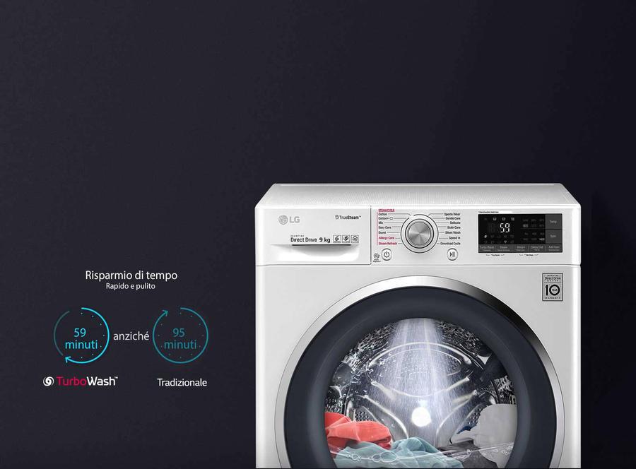 LG Lavatrice Standard F4J7JY2W 6 Motion 10 Kg Classe A+++ -40% Centrifuga 1400 giri- lavaggio a vapore- wifi