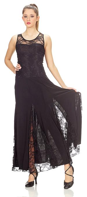 DRESS LONG WHEEL WIDE TULLE AND LACE ELASTIC sleeveless 4-0043