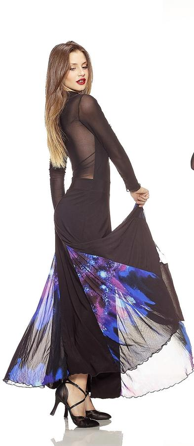 LONG DRESS IN ELASTIC TACTEL WITH BLUE FANTASY WITH TRANSPARENT BACK 4-0109