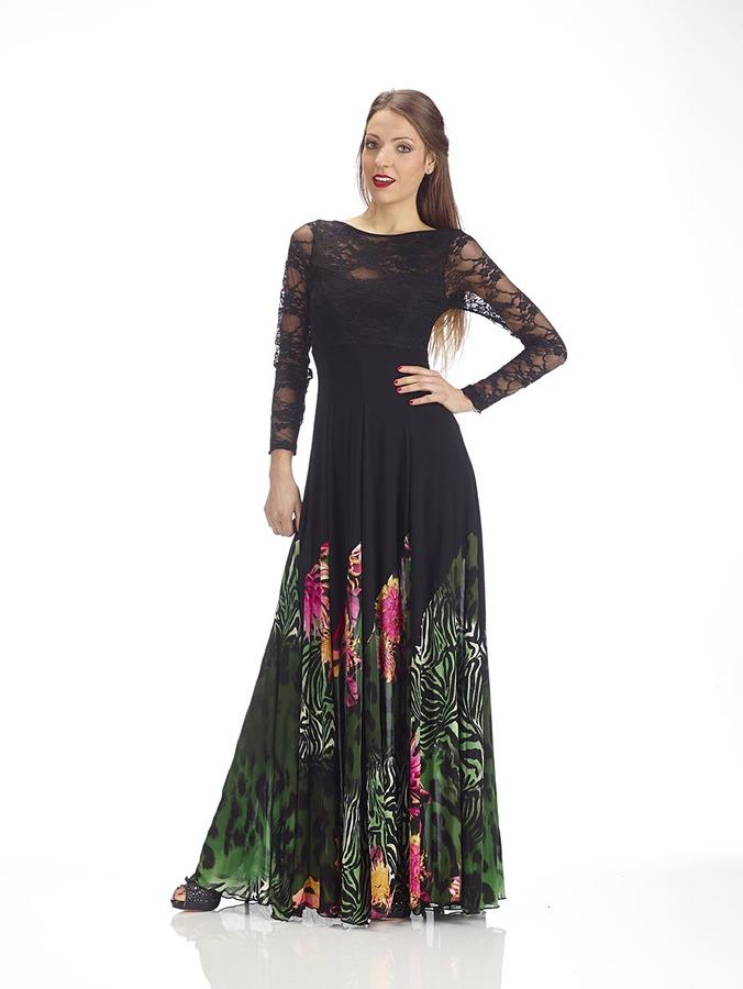 LONG DRESS IN TACTEL WITH GREEN FANCY TULLE WITH BODY AND LACE SLEEVES 4-0110