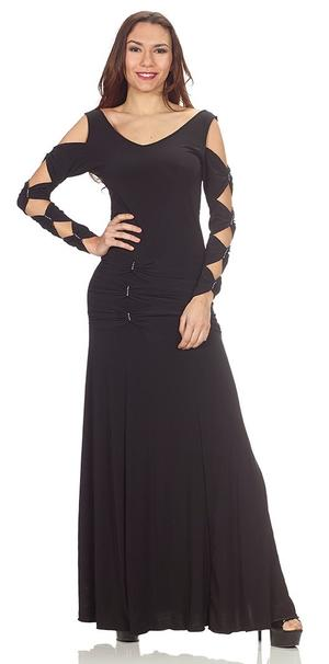 LONG DRESS IN BLACK SWEATER WITH OPEN SLEEVES AND INSERTS IN STRASS 4-0111