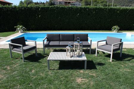 Salotto da giardino comodissimo CITTADELLA in alluminio tortora divano 3 posti con 2 poltrone e tavolino