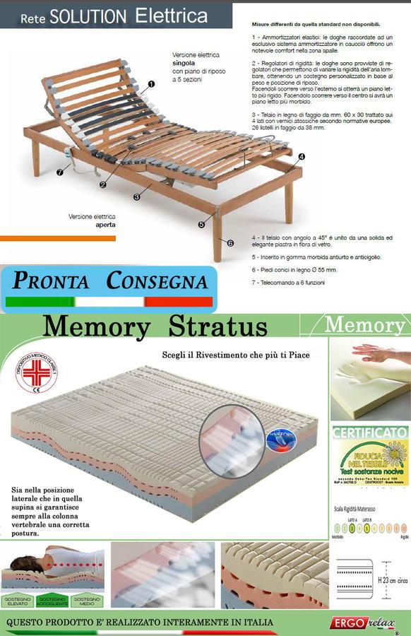Rete Elettrica Solution 80x190 + Materasso Memory Stratus 80x190 IVA AGEVOLATA 4% Offerta Pack - Ergorelax