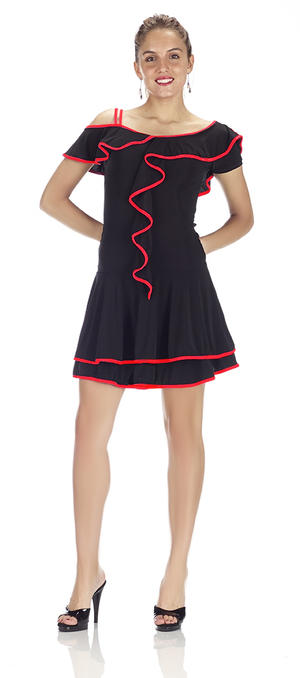 Copia di DRESS IN BLACK jersey TWO LAYERS WITH CENTRAL RUCHES 4-0051
