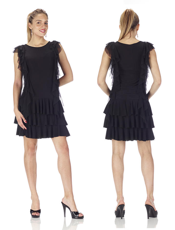 BLACK JERSEY DRESS WITH THREE FINAL FLOPS WITH SIDE RUCHES 4-0113