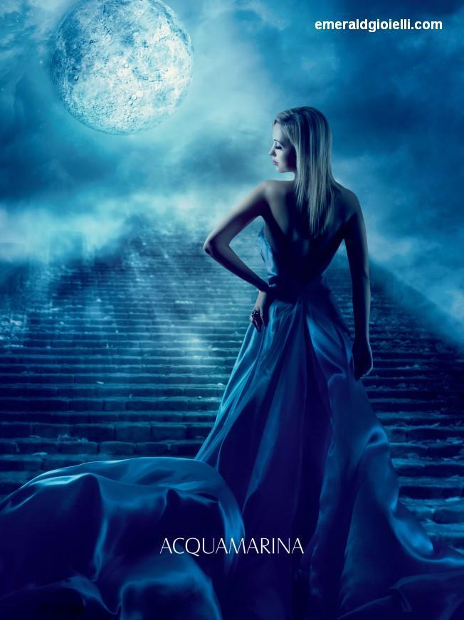 MAN204B Anello con Acquamarina Moon
