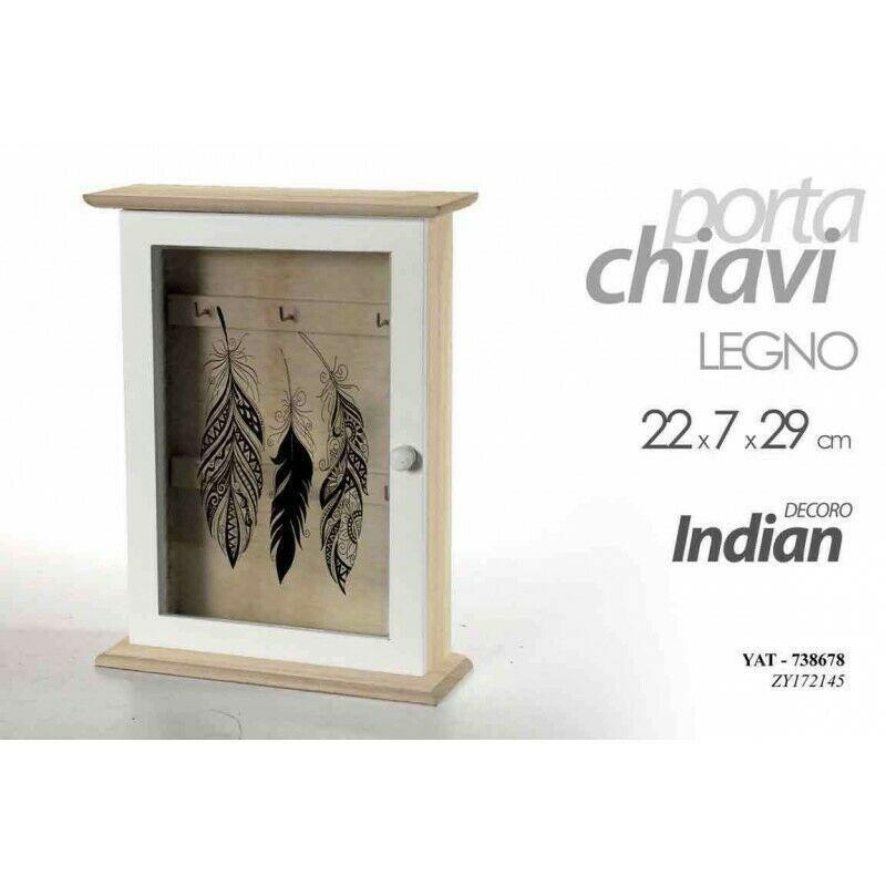 Cassetta Portachiavi Appendi Chiavi da Parete Muro in legno Indian Shabby 3Ganci